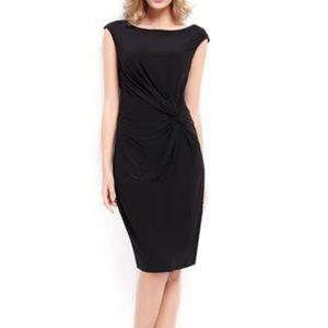 Ralph Lauren Black Side Knot Cap Sleeve Dress- 10